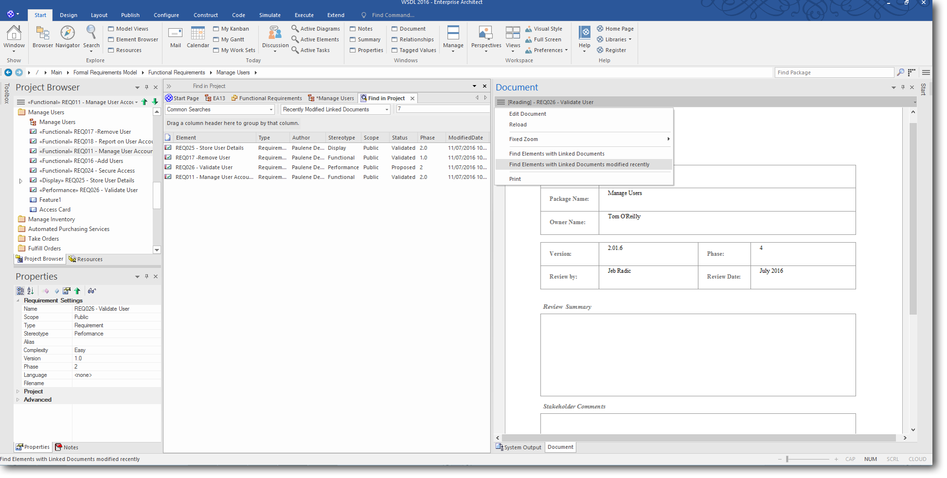 Enterprise Architect 13: Searches and Charts - Document View