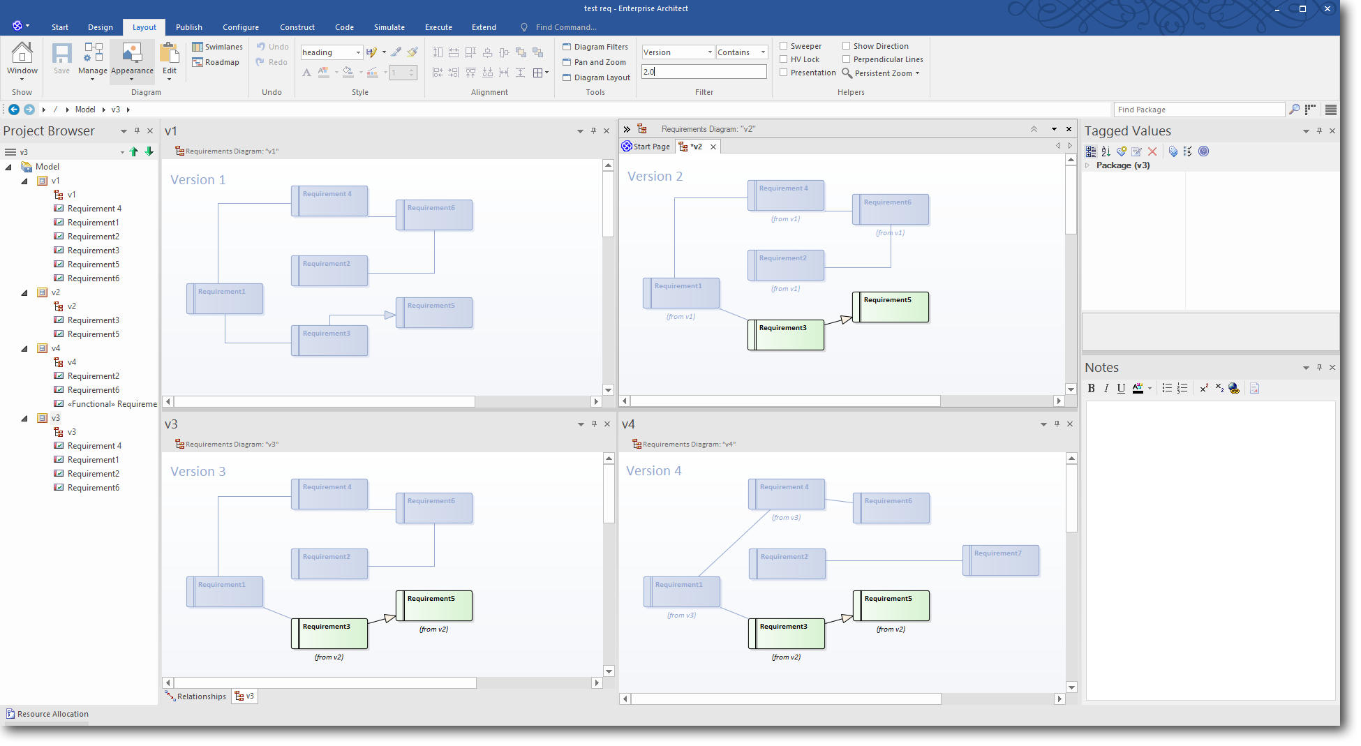 Enterprise Architect 13: Time Aware Modeling - Using a Diagram Filter to highlight Version 2.0 elements