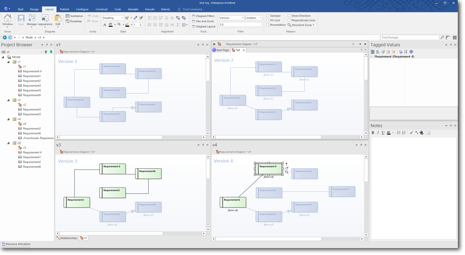 Enterprise Architect 13: Time Aware Modeling - Using a Diagram Filter to highlight Version 3.0 elements