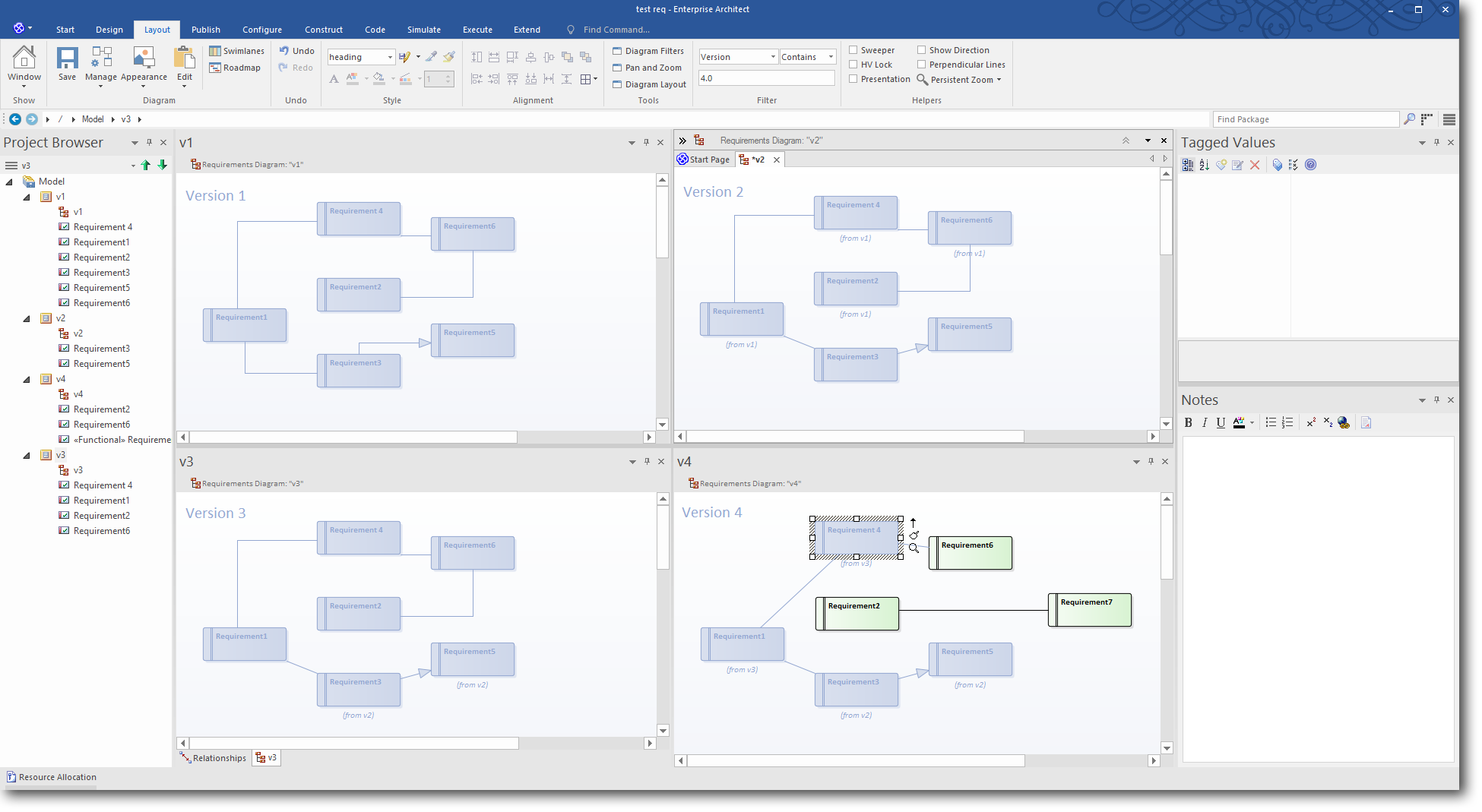 Enterprise Architect 13: Time Aware Modeling - Using a Diagram Filter to highlight Version 4.0 elements
