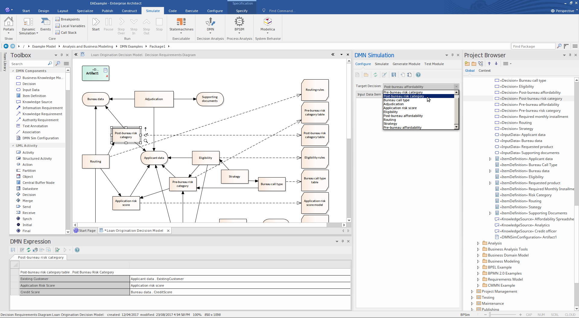 Enterprise Architect Unified Edition: DMN Engine